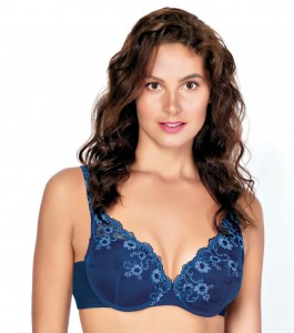 Enamor F085 Extended Neckline Cleavage Enhancer Plunge Push-up Bra Blue